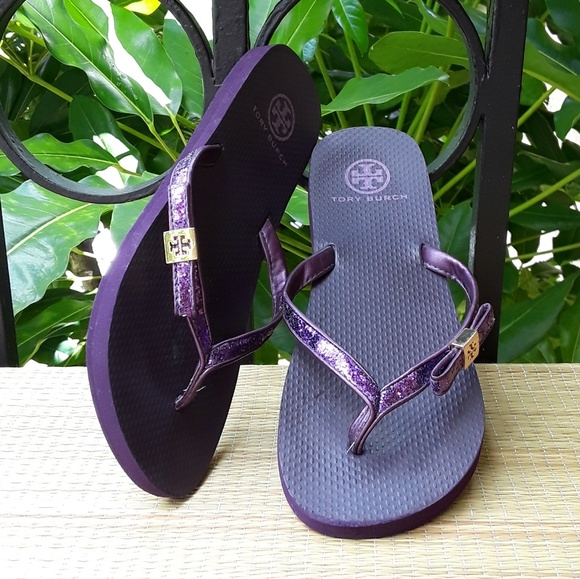 cf1ca3ee0c8b64 Tory Burch Shoes - Tory Burch Purple Glitter Logo Flip Flips 10